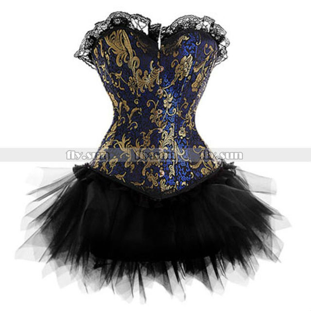Blue & Gold Overbust Corset with Pettiskirt Basque Lace up Bustier Sexy Tutu Skirt Party Shapewear S M L XL 2XL