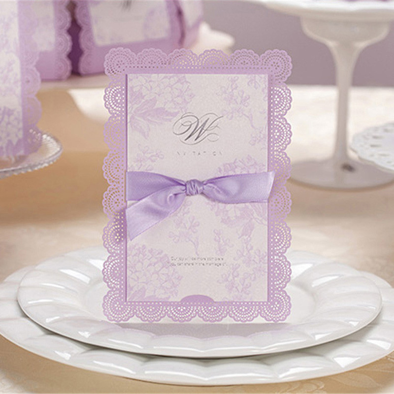 luxury lavender wedding invitations greeting card holiday birthday party prom paper lace blank insert decoration 10pcs