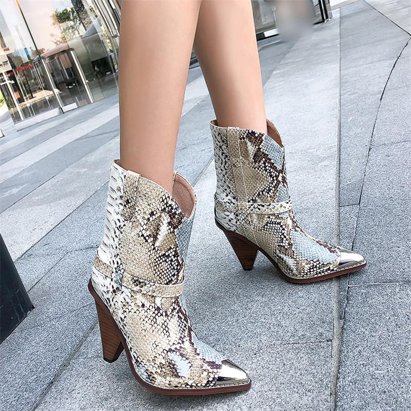 Image 4 - FEDONAS Women Brand Midcalf Boots Sexy Pointed Toe Autumn Winter Metal Toe Party Dancing Shoes Woman High Genuine Leather Boots-in Mid-Calf Boots from Shoes