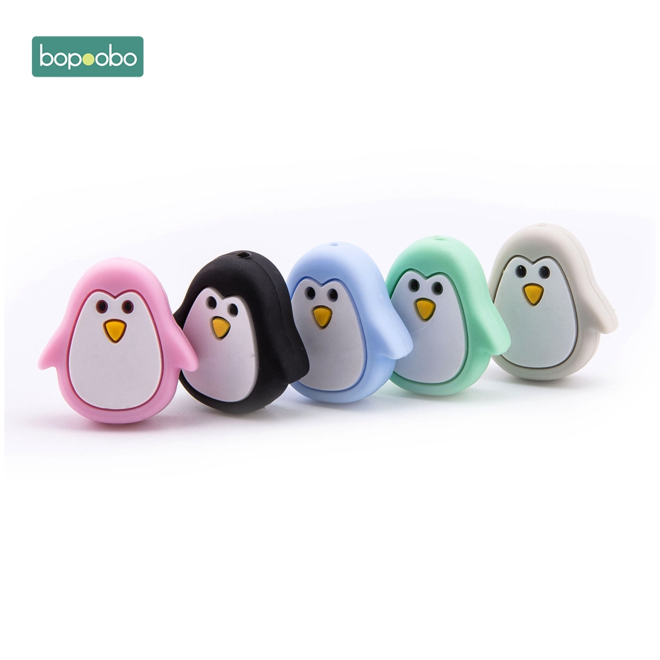 Bopoobo 3pc Mini Penguin Silicone Animal Teethers Beads DIY Baby Bracelet Necklace Accessories BPA Free Can Chew Bath Toys Gifts