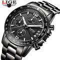 Часы LIGE мужские  модные  спортивные  армейские  водонепроницаемые  кварцевые