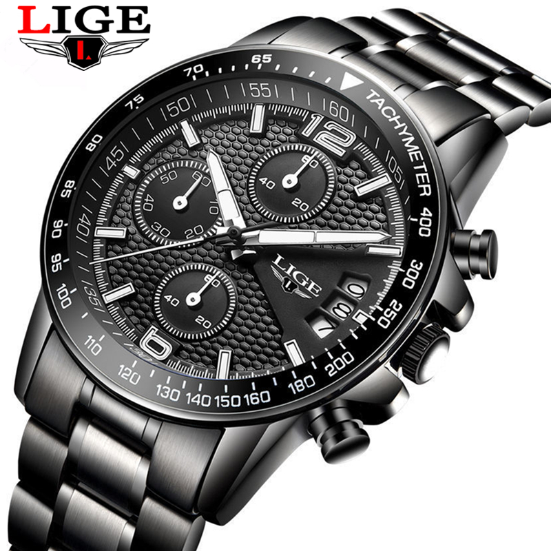 LIGE Men Full Steel Watches Male Fashion Sports Watch Black Quartz Clock Man Military Waterproof Wristwatches Relogios Masculino lige 2017 new men s watches male quartz watch men real three dial luminous waterproof 30m outdoor sports leather watch man clock