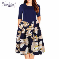 Nemidor 2017 New Arrival Casual Half Sleeve Elegant Party Floral Print Dress O Neck Plus Size