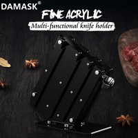 DAMASK Kitchen Knife Stand Black Chef Cutlery Holder Stainless Steel Knives Ceramic Knives Block Acrylic Kitchen Tools 6 PCS