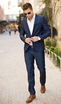 High Quality Dark Blue Business Mens Suits 2 Pieces Wedding Suits for Men Slim Fit (Jacket+Pants) Groom Tuxedos Groomsman Suits
