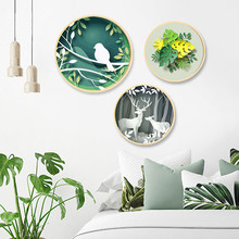Nordic style solid wood round decorative painting simple modern living room paintings restaurant Lingxiu landscape mural