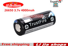 Genuine Original Trustfire 26650 4000mAh 3.7V Li-ion Rechargeable Battery 2PCS/LOT