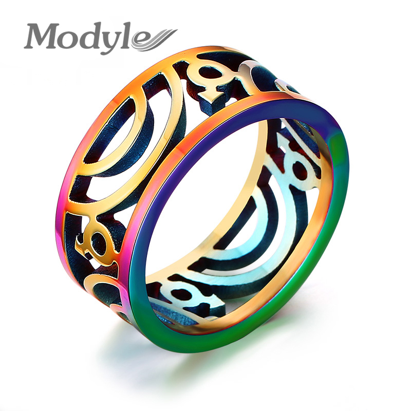modyle gay pride wedding rings for men jewelry 9mm wide stainless steel rings with rainbow color - Rainbow Wedding Rings