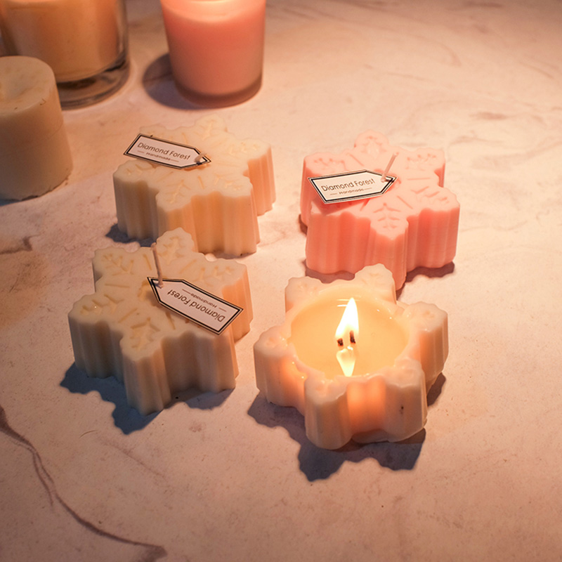 Snowflake Shape Candle Silicone Mold Christmas Aroma Gypsum Plaster Crafts Mould Snow Soap Mold Christmas Candle Home Decor