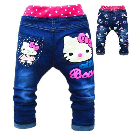 все цены на Baby Girl Jeans Trousers Hello Kitty Pants Kids Girls Leggings Children Cashmere Pants Baby Autumn Denim Jeans Clothes 1-5years