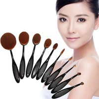 10Pcs Set Pro Beauty Toothbrush Shaped Foundation Power Eyebrow Eyeliner Lip Facial Pincel Maquiagem Oval Cream