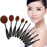 10Pcs Set Pro Beauty Toothbrush Shaped Foundation Power Eyebrow Eyeliner Lip Facial Pincel Maquiagem Oval Cream