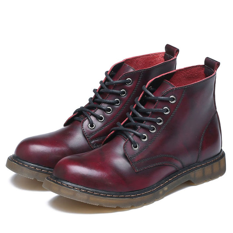 Non Chukka Rétro Cheville grey Red En Boot Bottes Dentelle brown Taille Grande blue Casual Chaussures Black up Marque Cuir Hommes Travail Alcubieree 46 Martin slip wine Mode qn8F6wtv