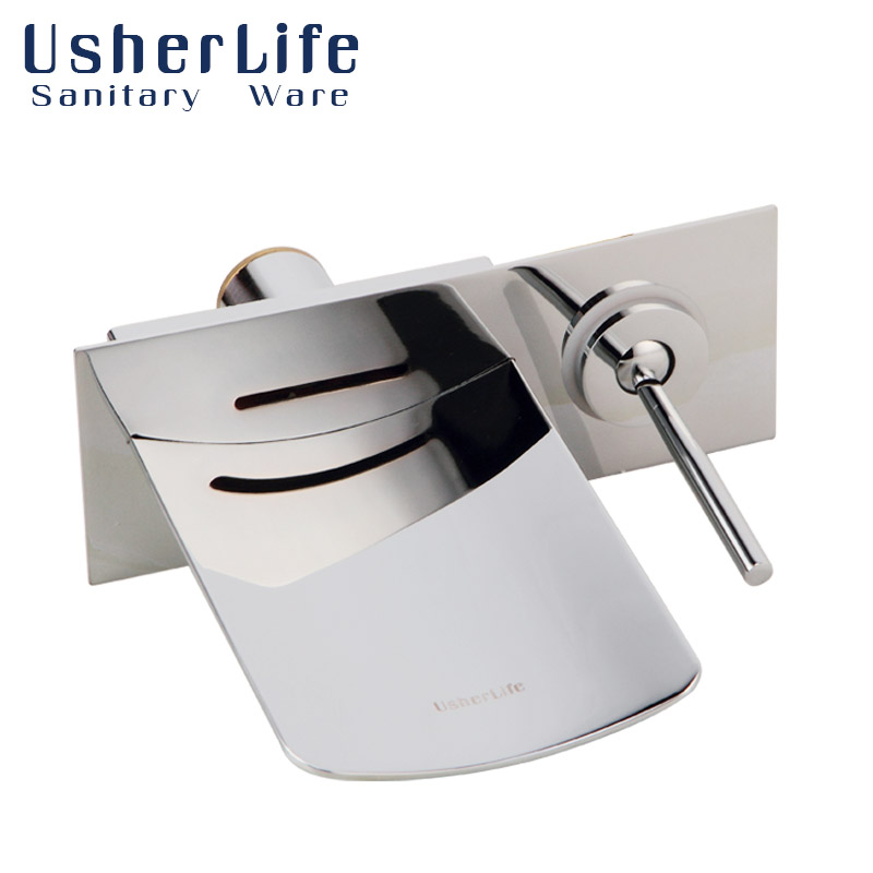 Usherlife Bathroom LED Faucet Wall Mounted Shower Faucets Waterfall Bathtub Mixer Tap Chrome Brass Bathroom Color Changing Taps new wall mounted dual handles three holes led light bathroom tub faucet brushed nickle waterfall shower bathtub faucet mixer tap