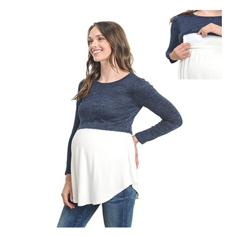2018 Long Sleeve Maternity clothing Nursing Breastfeeding T-Shirt Winter Nursing Tops fo ...