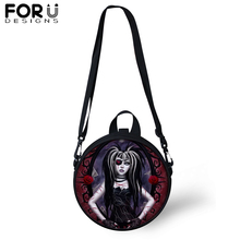 FORUDESIGNS Gothic Dark Art Messenger Shoulder Bag for Women Girls Black Circular Crossbody Teenager Satchel 2019