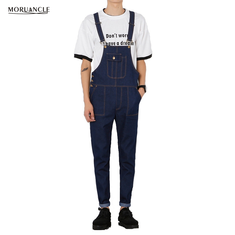 Moruancle Men 39 S Denim Overalls Male Casual Jeans Jumpsuits Fashion Slim Fit Blue Denim Cargo Bib