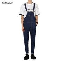 MORUANCLE Men S Denim Overalls Male Casual Jeans Jumpsuits Fashion Slim Fit Blue Denim Cargo Bib
