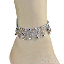 Silver Tone 2 layers Tassel Crystal Jewelry Chain Anklet Ankle Bracelet & bangles 035E