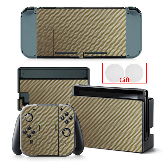 Carbon Fiber Sticker For Nintendo Switch Protection Skin Console Protector Stickers + 2pcs Silicone Protection Caps 2