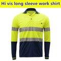 En471 colete de alta visibilidade de segurança workwear dois tons de manga longa camisa amarela camisa de trabalho reflexivo clothing