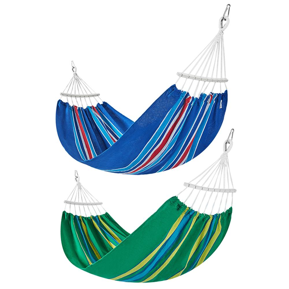 210x150cm Outdoor Portable Canvas Camping Hammock Garden Swing Hanging Chair Hangmat For Backpacking Travel Blue Green