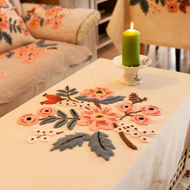 Tarohome Honeycomb Fabric Hand Embroidery Table Cloth Dustproof Cover For Home Tablecloth Kitchen