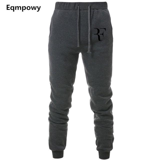 Mens Joggers Casual Roger Federer RF Pants Fitness Men Sportswear Tracksuit Bottoms Sweatpants Trousers Black Jogger Sweat Pants
