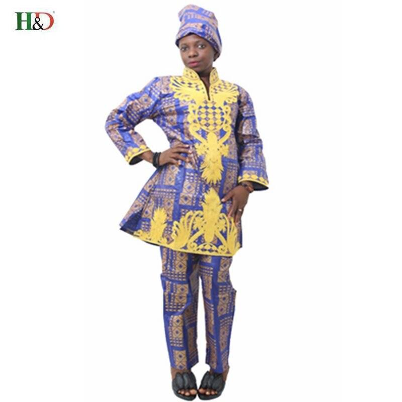H & D Afrikansk bazin riche broderi design kjole lang topp med bukser - Nasjonale klær - Bilde 4