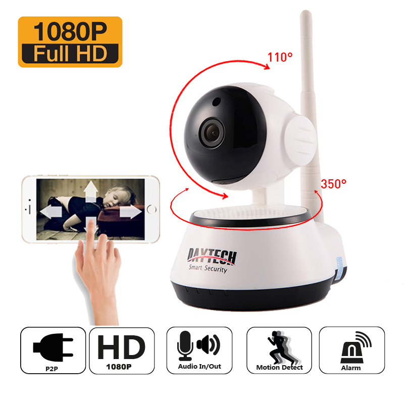 DAYTECH 2MP Wireless 1080P IP Surveillance Camera WiFi Security CCTV Baby Monitor IR Night Vision Two Way Audio Mini Network howell wireless security hd 960p wifi ip camera p2p pan tilt motion detection video baby monitor 2 way audio and ir night vision