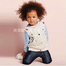 Hot 2014 new Spring&Autumn children sweatercoat, high quality girls cute cat  jackets,designer kids sweet sweater cardigans,2-9Y