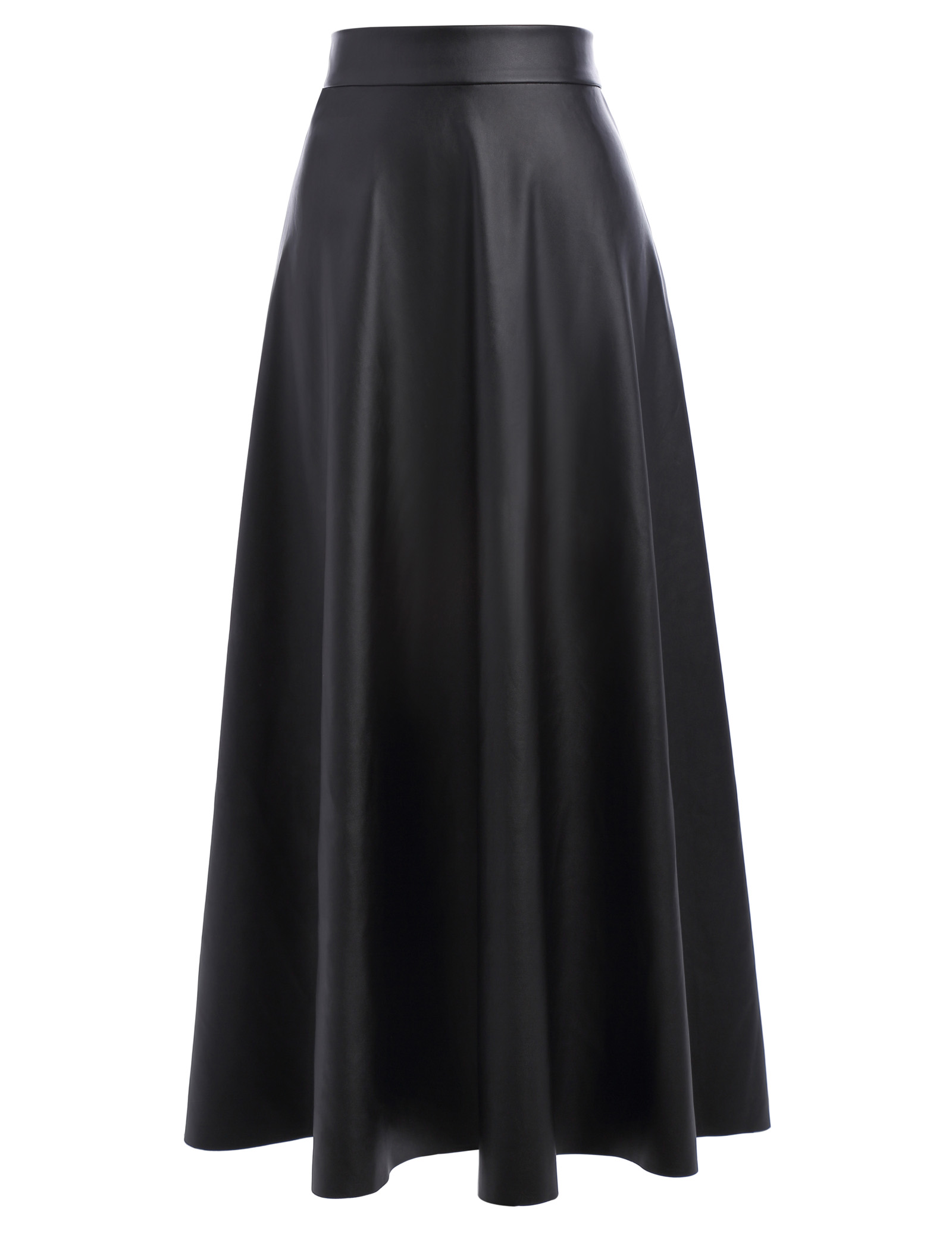 2018 Autumn Winter Women Skirt Fashion PU Leather Solid Long Skirt High Waist Pleated Sw ...