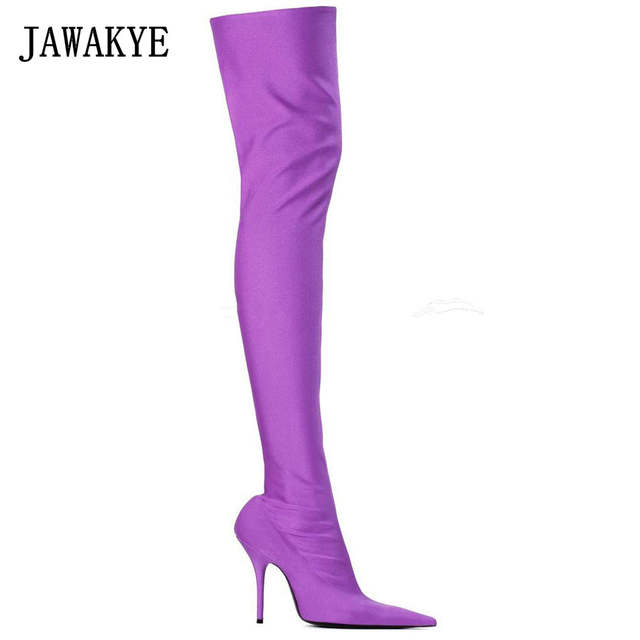 3ca38d50cad placeholder JAWAKYE Purple Candy Color Over The Knee Boots Women Sexy Point  toe Stiletto High Heel Thigh