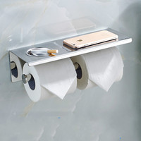 304 Stainless Steel Cell Phone Paper Towel Rack Cigarette Box Double Roll Holder Adhesive Suction Tissue