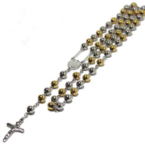 Virgin Mary And Jesus Cross Pendants Necklace Women/Men Jewelry Gold tone Tone 6mm/8mm Beads Stainless Steel Rosary Necklace