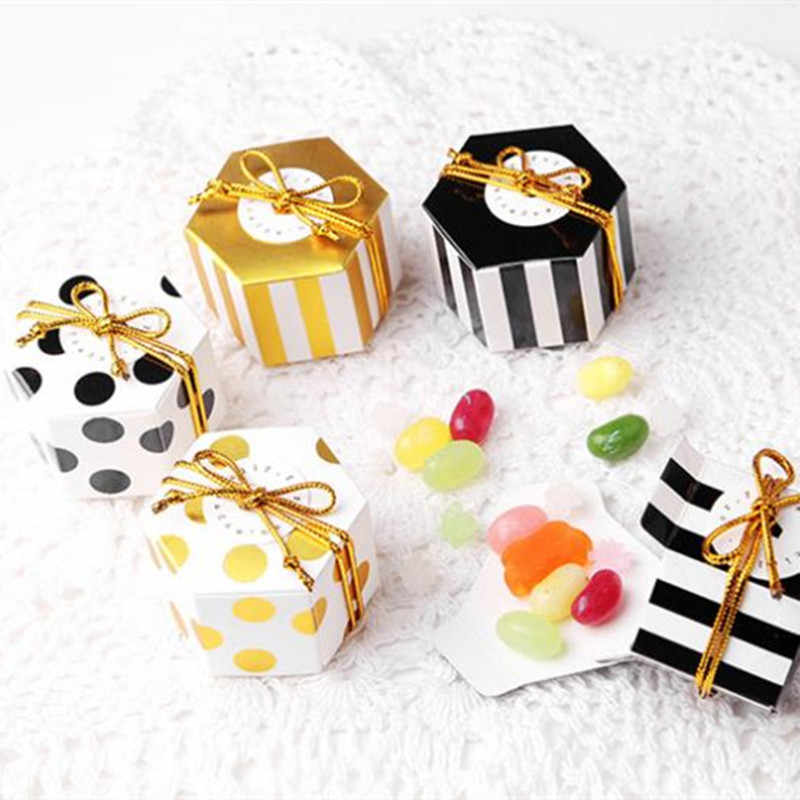 10pcs Stripe/Dots Golden Black Bronzing Color Hexagon Chocolate Box Dragee Candy Box Baking Package Wedding Party Decorations