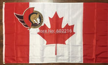 Ottawa Senators with Canada Flag 3x5FT NHL banner 100D 150X90CM Polyester brass grommets custom66,free shipping(China)