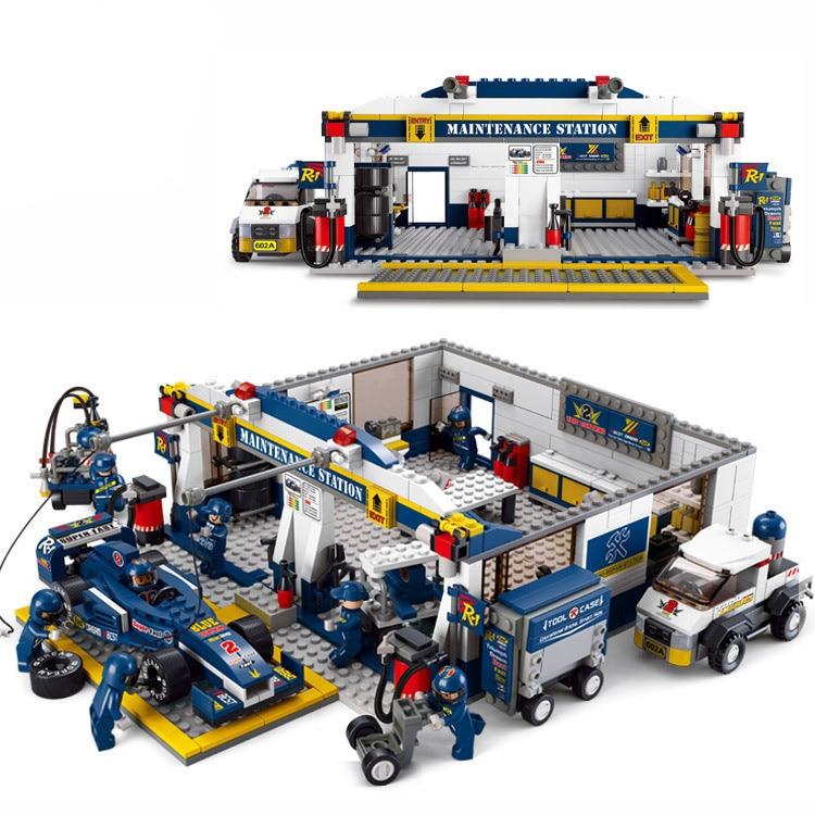 0356 F1 Station de réparation bloc de construction course bloc de construction éducatif Sluban bloc de construction briques à monter soi-même Compatible avec Lego