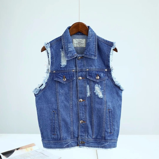 16 Summer New European Style Lapel Pocket Edges Frayed Denim Vest Vest Female Personality And Handsome