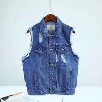 16 Summer New European Style Lapel Pocket Edges Frayed Denim Vest Vest Female Personality And Handsome