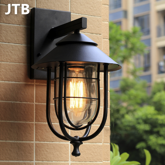 Wall Lamp Outdoor Lamps Modern Porch Light E27 Edison Light Bulb Garden Lamp  220v Iron Grade