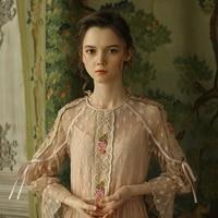 Линетт Chinoiserie Демисезонный Для женщин Винтаж милые Вышивка Кружево лоскутное тонкий Мори Длинные платья для девочек