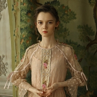 LYNETTE'S CHINOISERIE Spring Autumn Women Vintage Cute Embroidery Lace Patchwork Slim Mori Girls Long Dresses