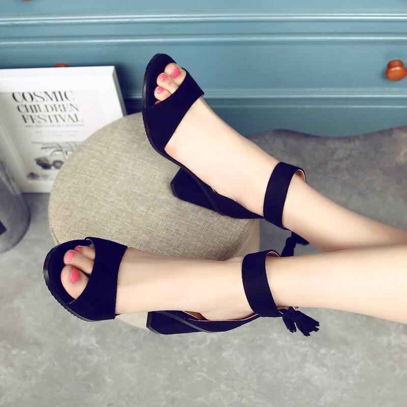 Épais Sandales Salto Haute De Talons D'été Alto noir Gland Sandalias Sandale Fringe Rouge Beige Chaussures bleu rose Femmes 2018 Troupeau Femme pBqvxYFY