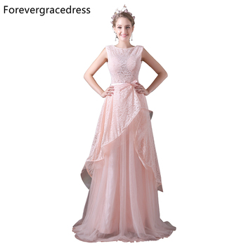 Forevergracedress Elegant Pink Long Evening Dress A Line Lace Soft Tulle Cap Sleeve Formal Prom Party Gown Plus Size Custom Made