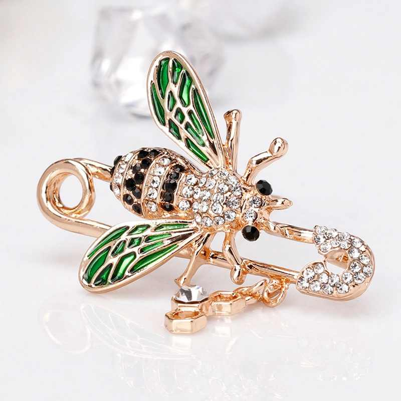 Cute Honeybee Women Brooches Animal Shapes Crystal Red Green Bee Brooch Pins 63*48mm Badges For Clothes Female Brooches