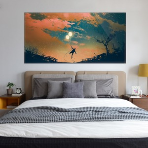 Image 5 - Beautiful Sky Balloon And Boy Wall Sticker Bed Head Stickers Kids Bedroom Wall Sticker Home Decor For Childrens Bedroom