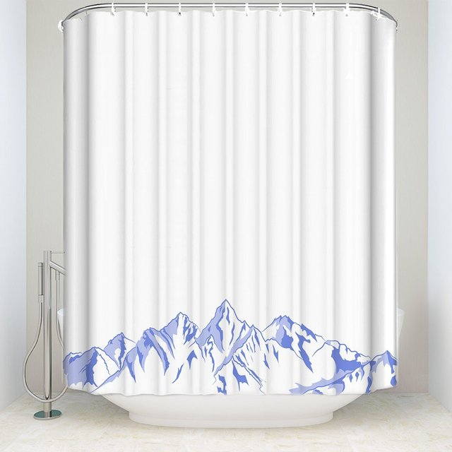 Mildew Resistant Shower Curtain Fabric Mountain Design 100 Polyester For Bathroom Waterproof Anti Bacterial Blue
