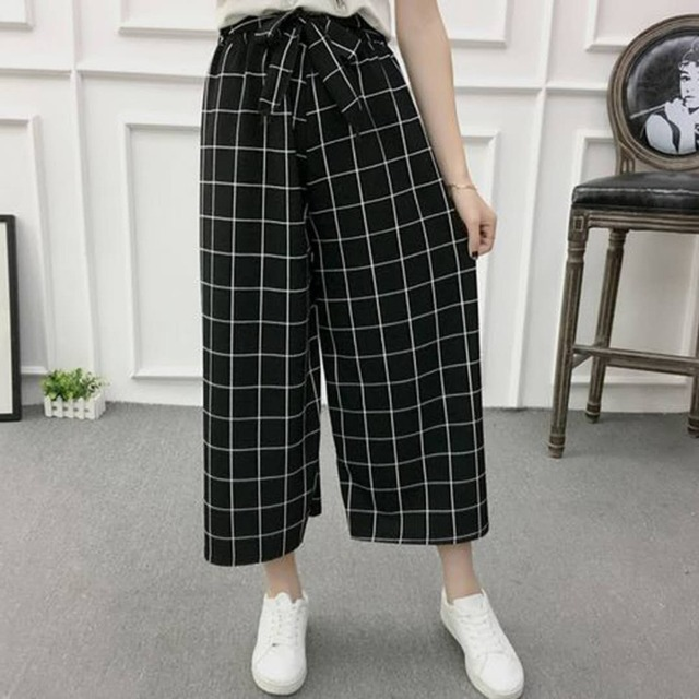 Fashion Summer Wide Leg Pants Women High Waist Plaid Striped Loose Palazzo Pants Elegant Office Ladies Trousers