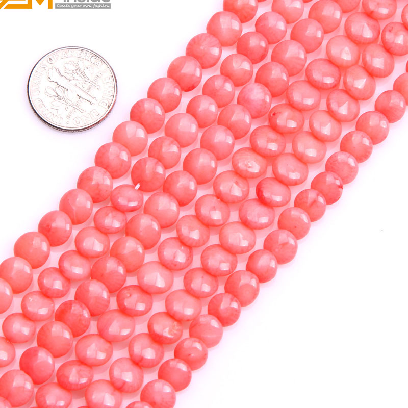 Coin Coral Beads For Jewelry Making Selectable Color 6mm 15inches DIY Jewellery Free Shipping Wholesale Gem-inside